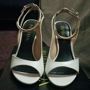 White Stiletos with Gold ankle wrap around